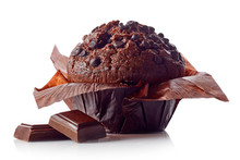 Chocolate Muffin Isolated On W...