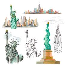 Set Watercolor Sketch Of Statu...