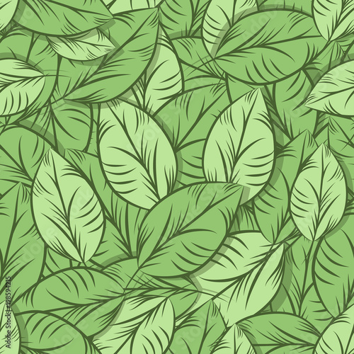 Poster Kunstmatig Green organic leaves, seamless pattern. Detailed illustration, hand drawn.Great for fabric and textile, prints, invitation, packaging, or any desired idea.