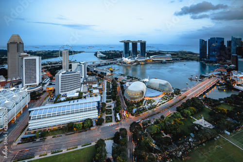 Photo  Cityscape of Singapore city in the daytime, Aerial view Singapore skyline