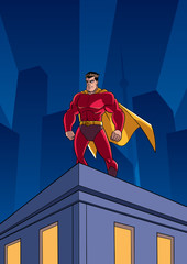 Superhero watching over the city from the roof of a tall building at night.