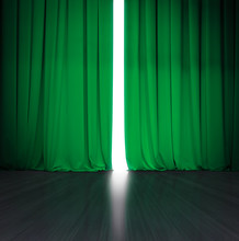 Theater Green Curtain Slightly...