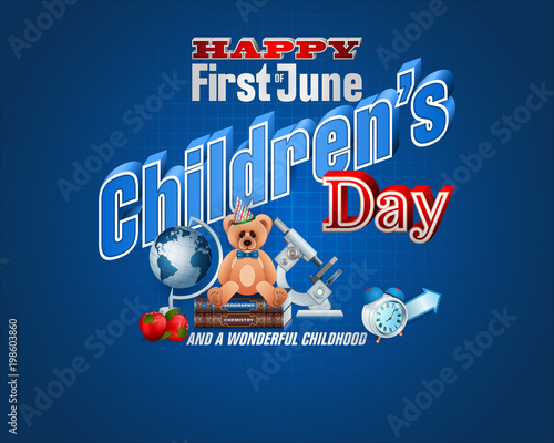 First of June, joy of children  Design, background with 3d