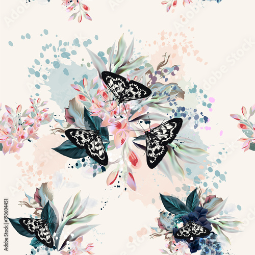 Printed kitchen splashbacks Butterflies in Grunge Beautiful artistic pattern with flowers and butterflies in spring peach colors