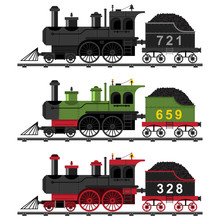 Old Steam Engine Train Vector Flat Set. Cartoon Illustration Of A Railway Locomotive With Coal On Rails Isolated On A White Background.