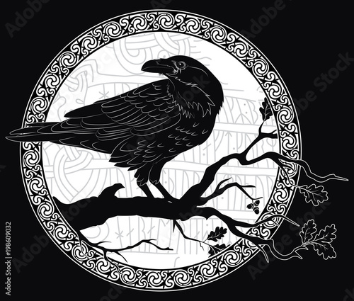 Photo Black crow sitting on a branch of an oak tree, and Scandinavian runes, carved in
