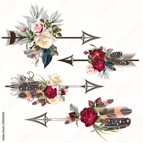 Fotografia, Obraz  Set of vector boho arrows with roses and feathers for design