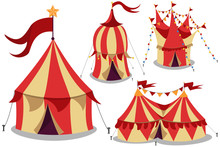 Circus Vintage Tent Vector Cartoon Flat Icon Set Isolated On White Background.
