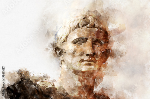 Photo Watercolor, Sculpture of the Emperor Trajano of Rome