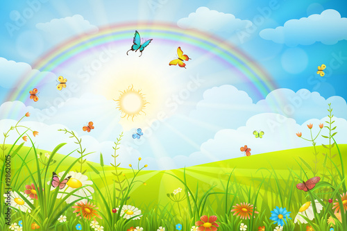 La pose en embrasure Piscine Summer or spring scene with green grass, flowers butterflies and rainbow
