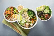 Variety Of Poke Bowls With Tun...