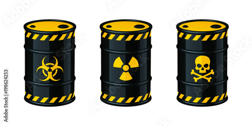 Fotografie, Obraz  Barrels of waste vector illustration
