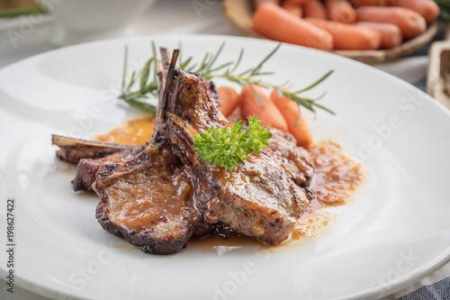 Tablou Canvas lamb steak on white plate