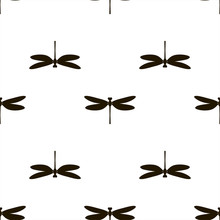 Monochrome Seamless Pattern With Black Silhouettes Of Dragonflies. Vector.