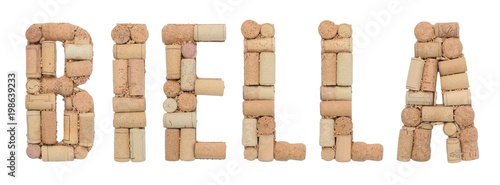 Italian province Biella made of wine corks Isolated on white background Wallpaper Mural