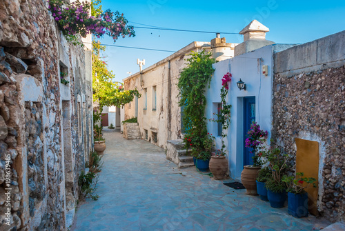 Street view from Chora in Kythera island in Greece