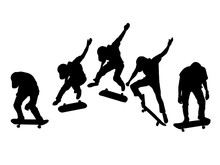 Silhouette Set Of Men Skateboa...