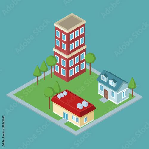 Poster de jardin Route Isometric residences buildings vector illustration graphic design