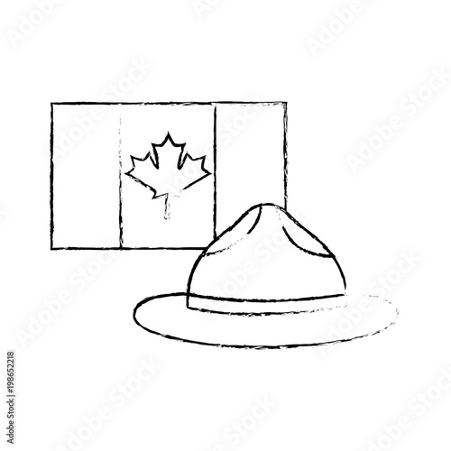 Fotografía  canadian flag and hat ranger symbol national sketch