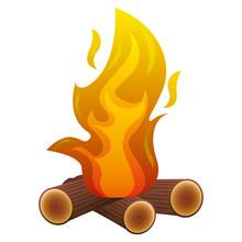 Camp Bonfire Flame Burning Wooden Image Vector Illustration