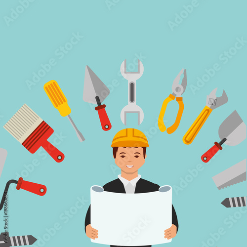 Construction Architect Blueprint And Equipment Tools Vector Ilration
