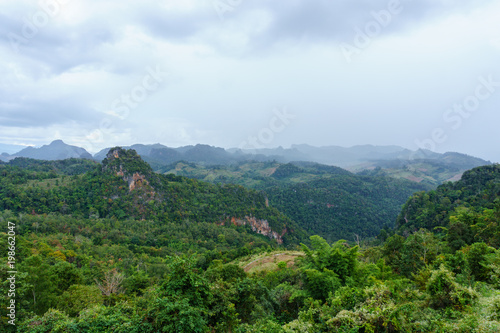 Deurstickers Wit panorama landscape view of jungle and mountain with blue sky and cloud in sunny day at thailand national park. nature or abstract background.