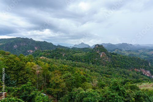 Poster Blauwe hemel panorama landscape view of jungle and mountain with blue sky and cloud in sunny day at thailand national park. nature or abstract background.