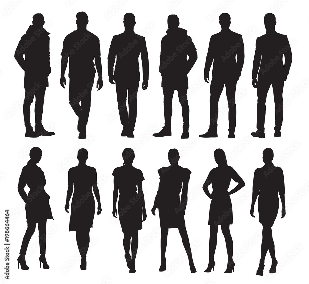 Fototapety, obrazy: Business men and women in different poses, set of vector silhouettes. Adult people in formal dress at work