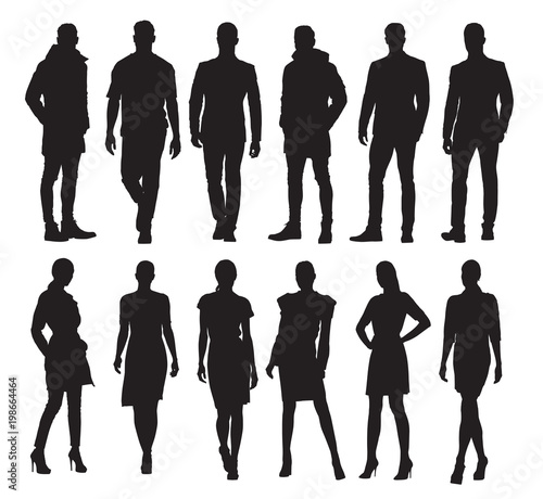 Business men and women in different poses, set of vector silhouettes. Adult people in formal dress at work Wall mural