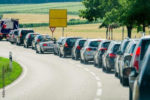 Photo traffic jam diesel car parade