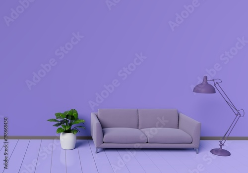 Fototapety, obrazy: Modern interior design of purple living room with sofa an plant pot on white glossy wooden floor. Lamp element. Home and Living concept. Lifestyle theme. 3D illustration rendering.