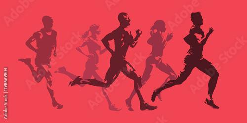 Fotografie, Obraz  Running men and women, active people