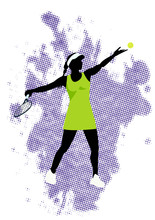 Tennis Vector Poster. Sports Girl Plaing