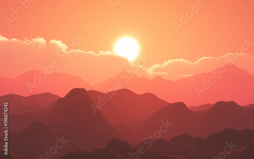 Poster Corail 3D mountain landscape against sunset sky