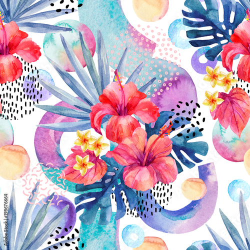 Staande foto Grafische Prints Watercolor tropical background.