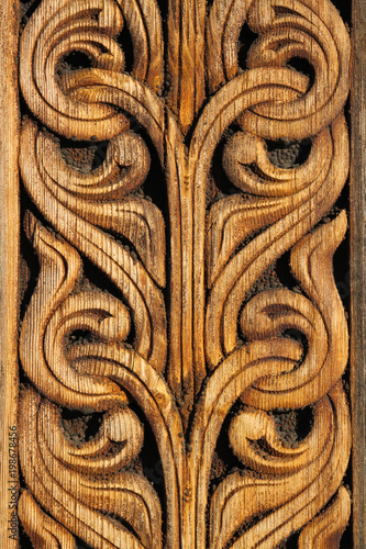 Norwegian viking  wooden knot work on the side of a building Canvas Print