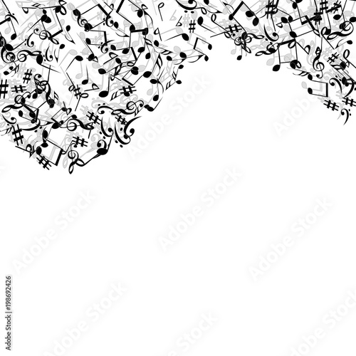 Fototapety, obrazy: Vector Confetti Background Pattern. Element of design. Music Signs on a black Background