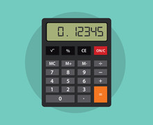 An Isolated Calculator With Flat Style And Green Background