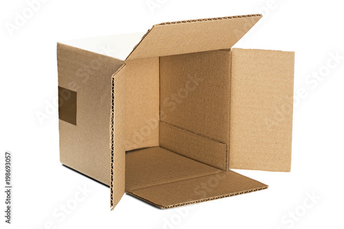 Cardboard box for post service on isolated white background. Parcel with empty space for your text. Pattern for delivery or post service.