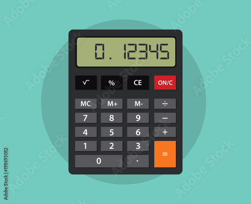 Cuadros en Lienzo an isolated calculator with flat style and green background