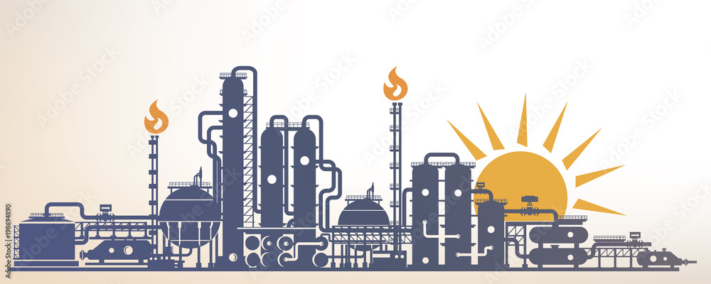 Fototapety, obrazy: chemical, petrochemical or processing plant, heavy industry landscape, industrial background