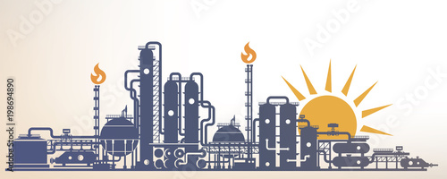 Fototapeta chemical, petrochemical or processing plant, heavy industry landscape, industrial background obraz