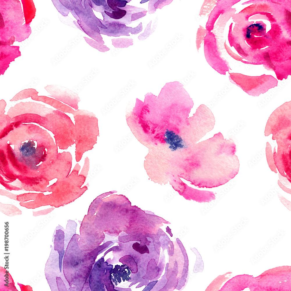 Różany wzór z naturalnych akwarela ilustracje akwarela róż na papierze. Niesamowite karty ślubne, tekstylia, tapety, karty okolicznościowe, www, tła, etykiety. <span>plik: #198700656 | autor: Design Couple</span>