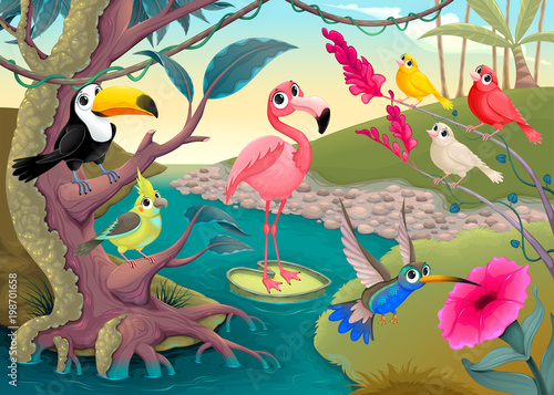 Recess Fitting kids room Group of funny tropical birds in the jungle
