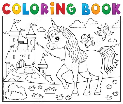 For Kids Coloring book happy unicorn topic 2