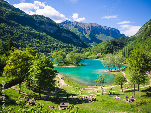 Fotobehang Meer / Vijver Lake Tenno surrounded by Italian alps.