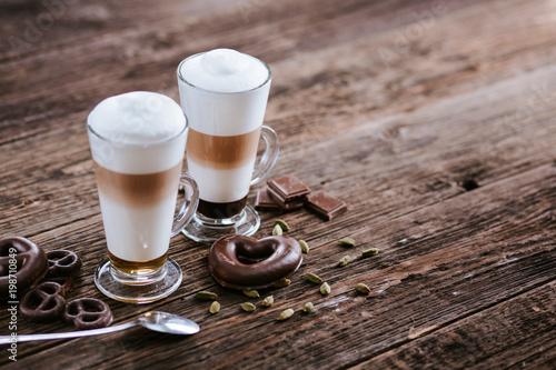 Latte with chocolate and cardamom Fototapeta