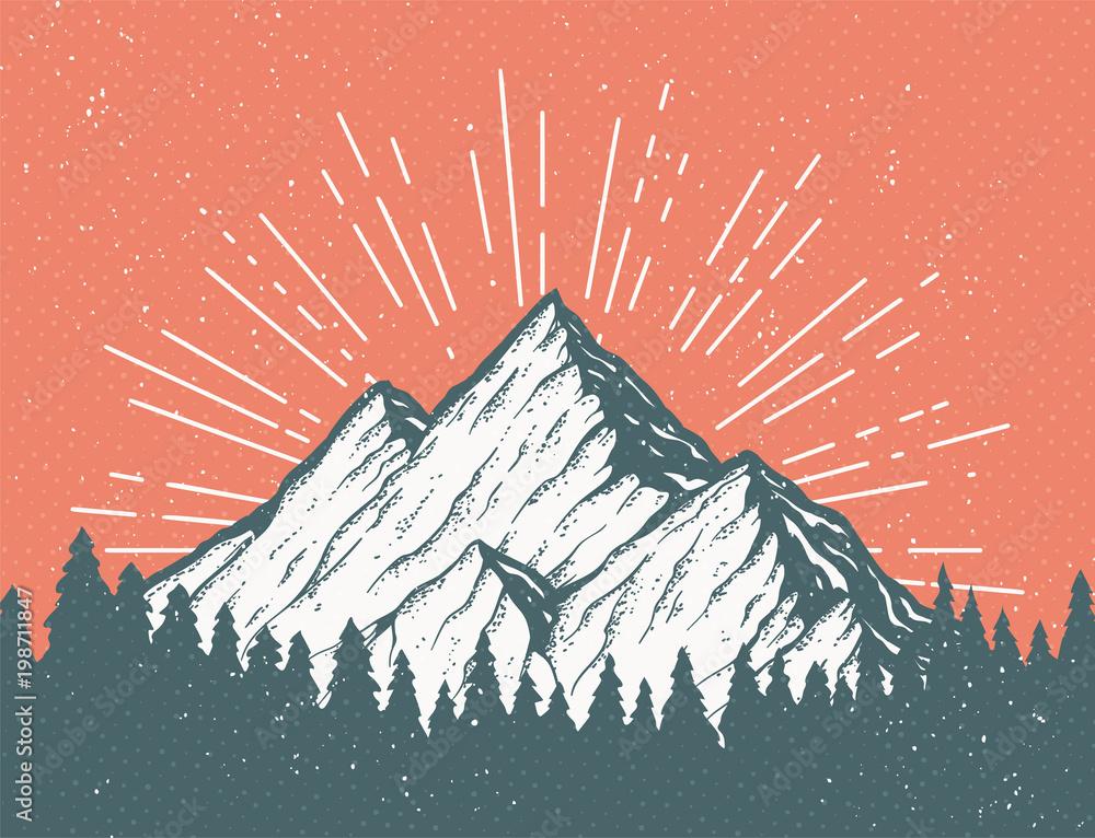 Fototapety, obrazy: Retro Mountain Postcard