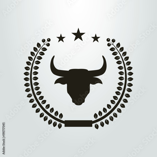 black-and-white icon of the bull in the laurel wreath Wallpaper Mural