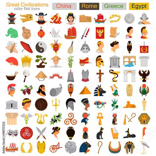 Photo Four Great civilizations color flat icons set